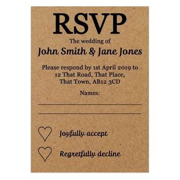 Recycled Brown Kraft Guess Who RSVP Cards