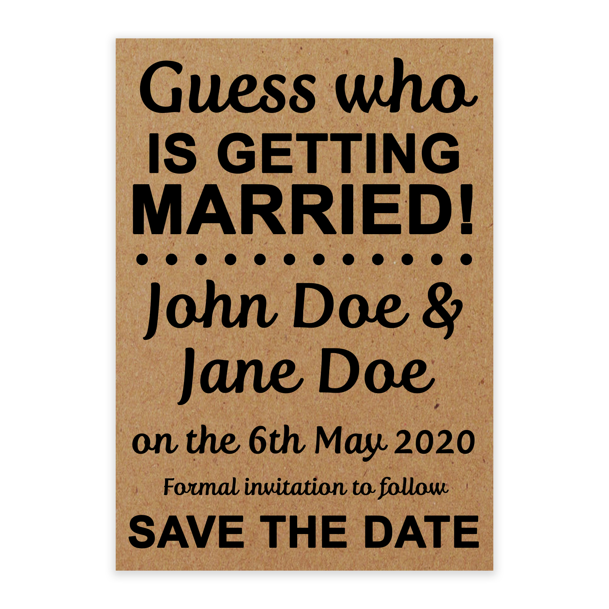 Recycled Brown Kraft Guess Who is Getting Married Save the Date Cards