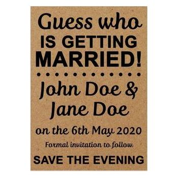 Recycled Brown Kraft Guess Who is Getting Married Save the Evening Cards