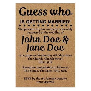 Recycled Brown Kraft Guess Who is Getting Married Wedding Invites