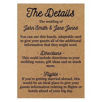 Recycled Brown Kraft Calendar Guest Information Cards