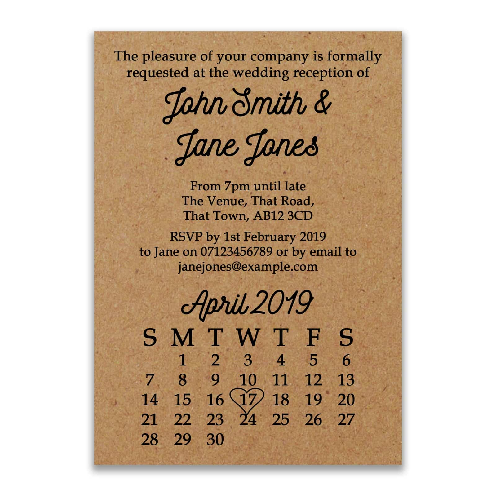 Recycled Brown Kraft Calendar Reception Invitations