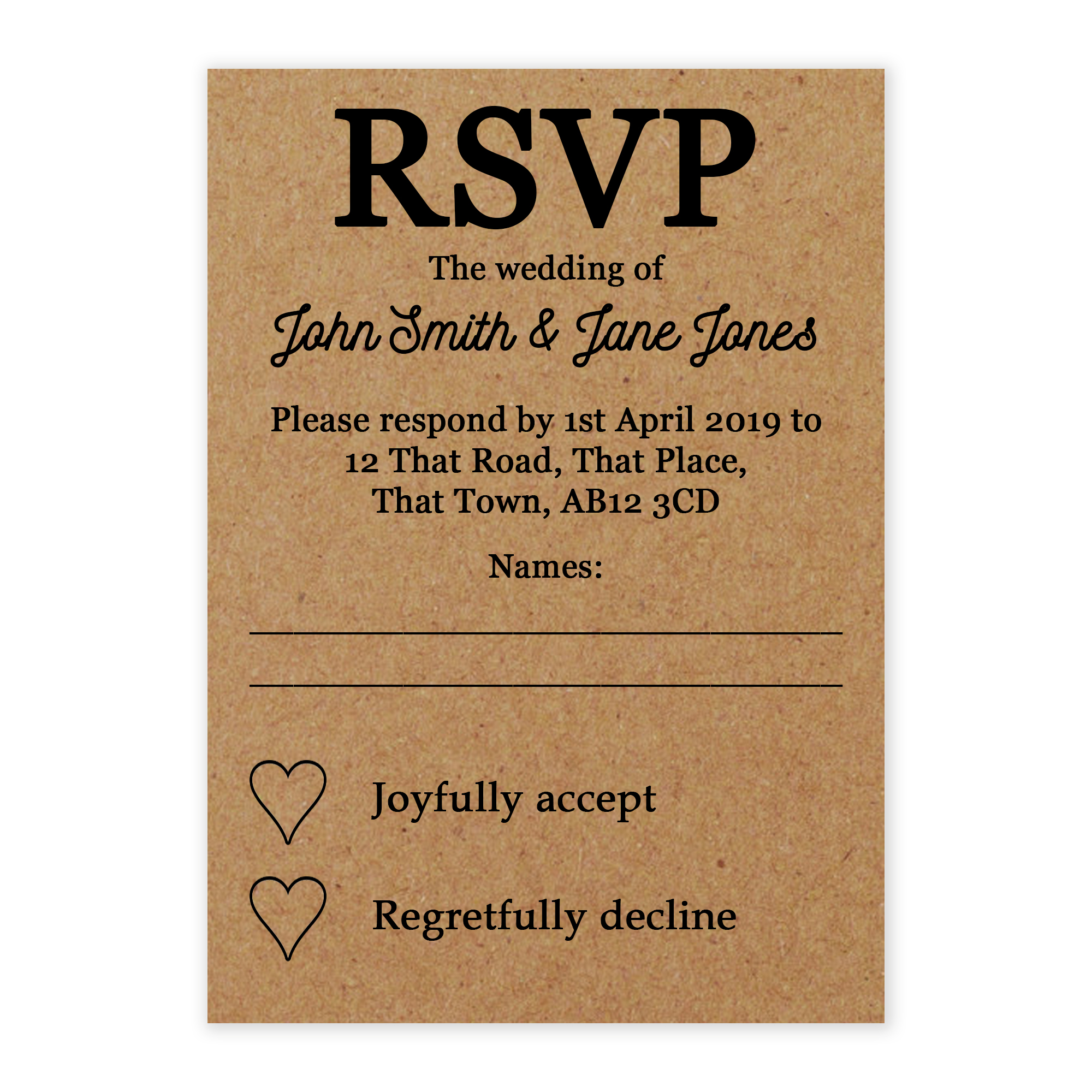 Recycled Brown Kraft Calendar RSVP Cards