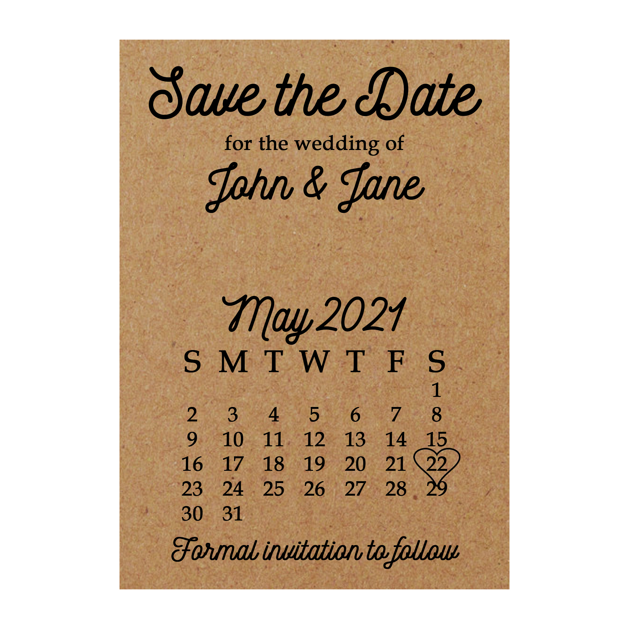 Recycled Brown Kraft Calendar Save the Date Cards