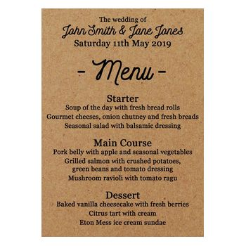 Recycled Brown Kraft Calendar Wedding Breakfast Menu Cards