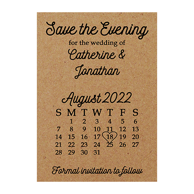 Recycled Brown Kraft Calendar Save the Evening Cards