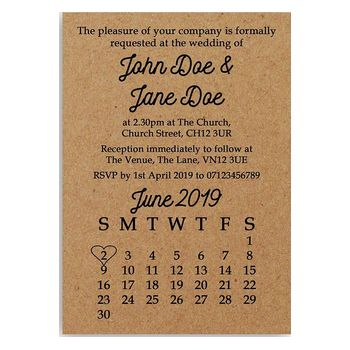 Recycled Brown Kraft Calendar Wedding Invitations