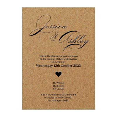 Recycled Brown Kraft Classic Swirl Decorative Reception Invitations
