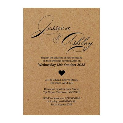 Recycled Brown Kraft Classic Swirl Decorative Wedding Invitations