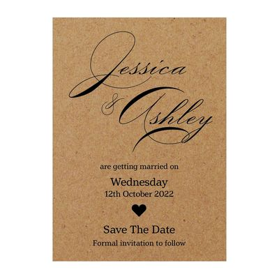 Recycled Brown Kraft Classic Swirl Decorative Save the Date Cards