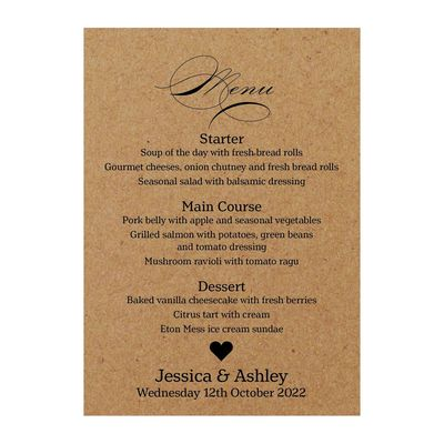 Recycled Brown Kraft Classic Swirl Decorative Menu Cards