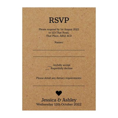 Recycled Brown Kraft Classic Swirl Decorative Diet RSVP Cards