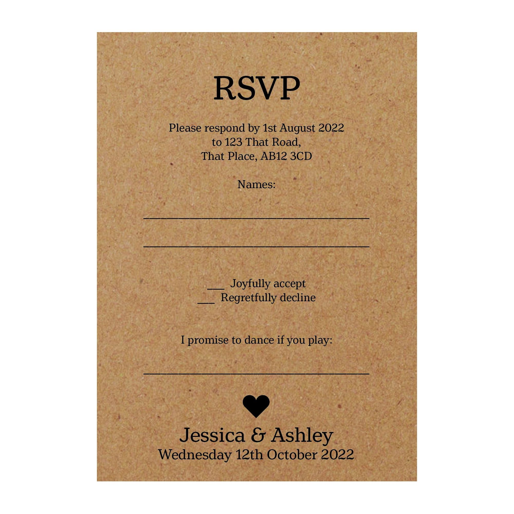Recycled Brown Kraft Classic Swirl Decorative Song RSVP Cards