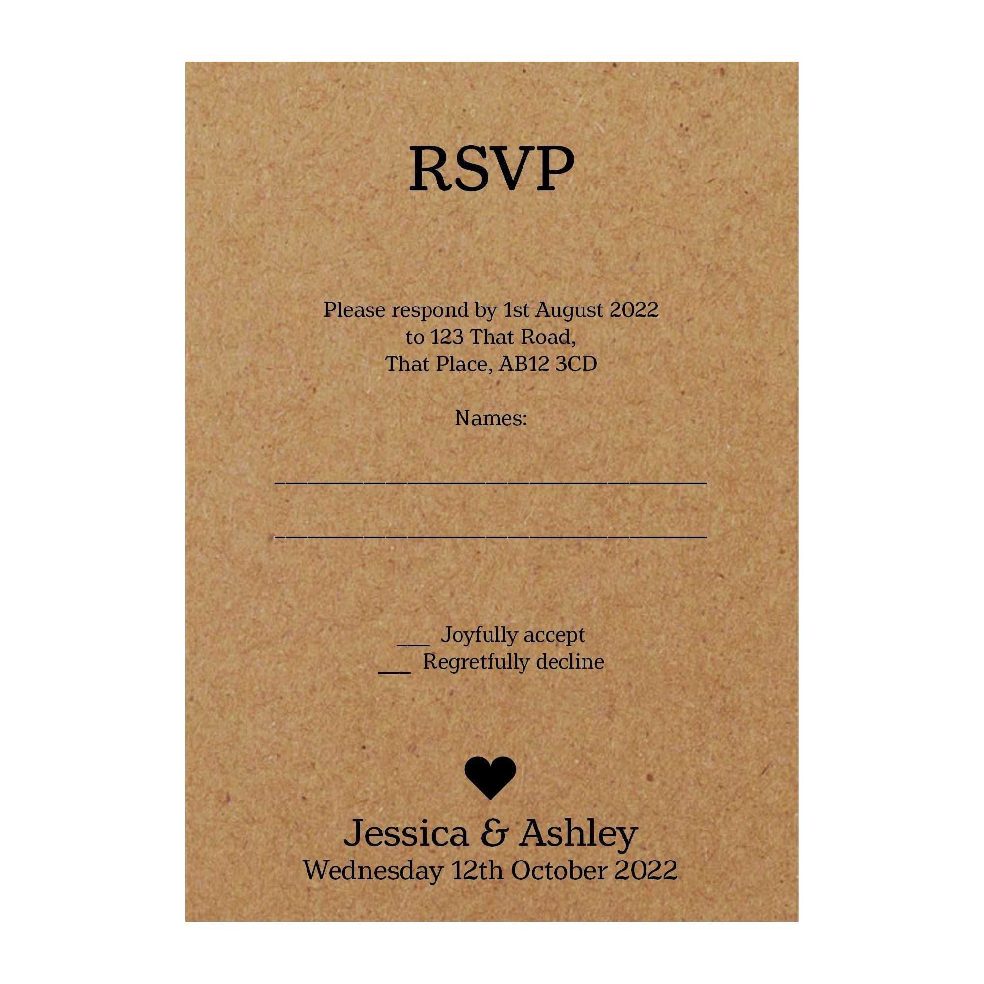 Recycled Brown Kraft Classic Swirl Decorative RSVP Cards