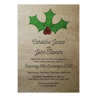 Recycled Brown Kraft Christmas Holly & Berries Wedding Invitations