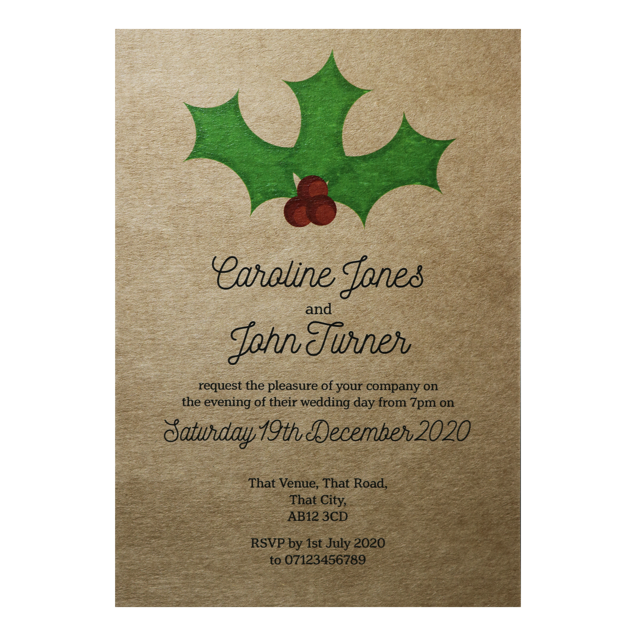 Recycled Brown Kraft Christmas Holly & Berries Reception Invitations