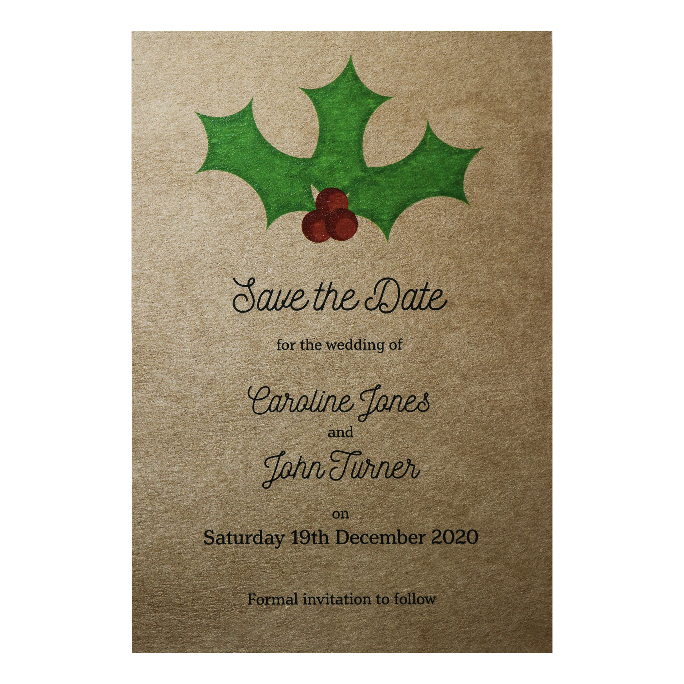 Recycled Brown Kraft Christmas Holly & Berries Save the Date Cards