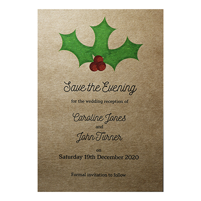 Recycled Brown Kraft Christmas Holly & Berries Save the Evening Cards