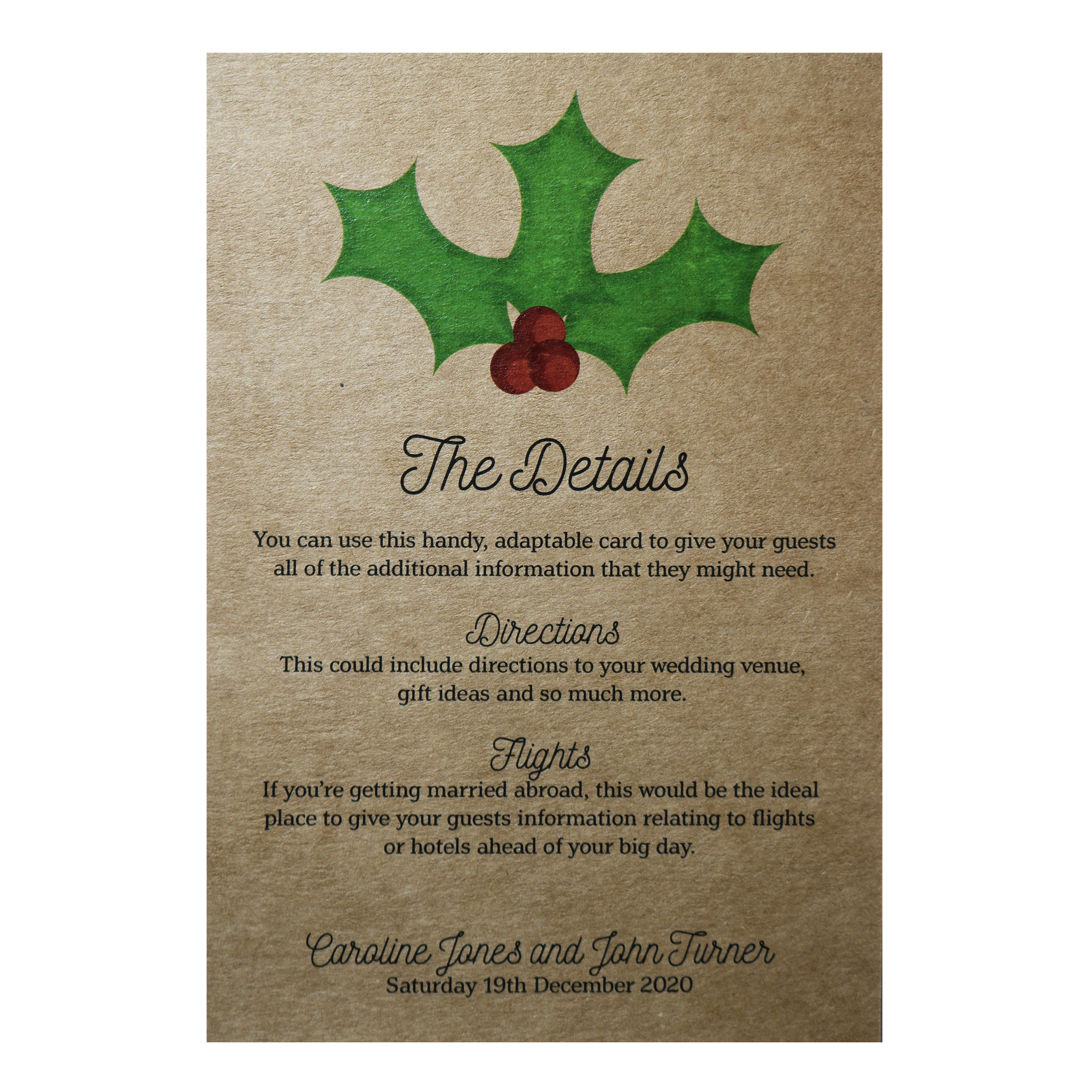 Recycled Brown Kraft Christmas Holly & Berry Guest Information Cards