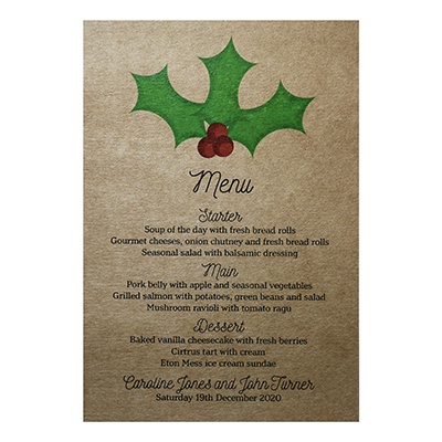 Recycled Brown Kraft Christmas Holly & Berry Wedding Menu Cards