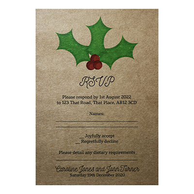 Recycled Brown Kraft Christmas Holly & Berries Wedding RSVP Diet Cards