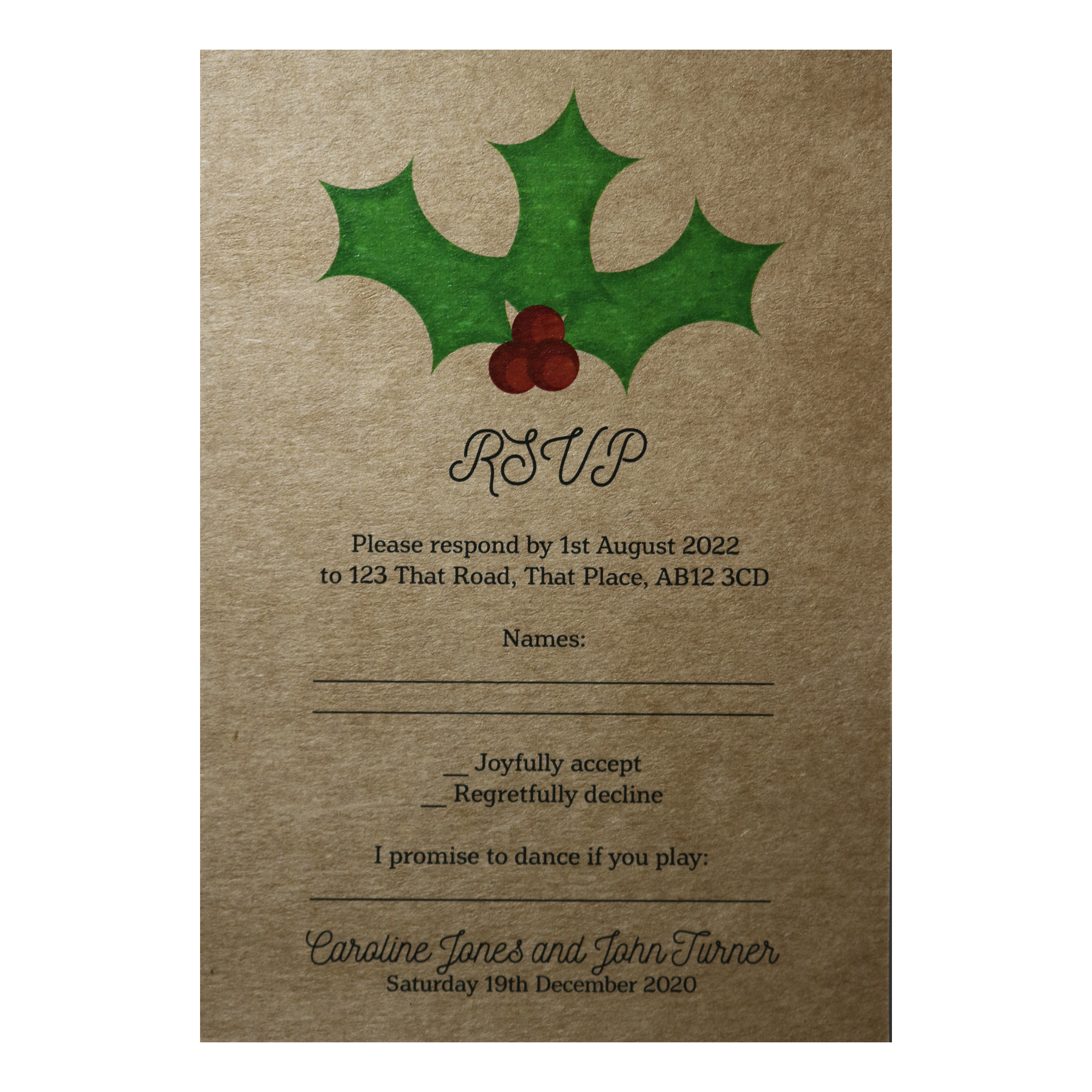 Recycled Brown Kraft Christmas Holly & Berries Wedding RSVP Song Request Cards