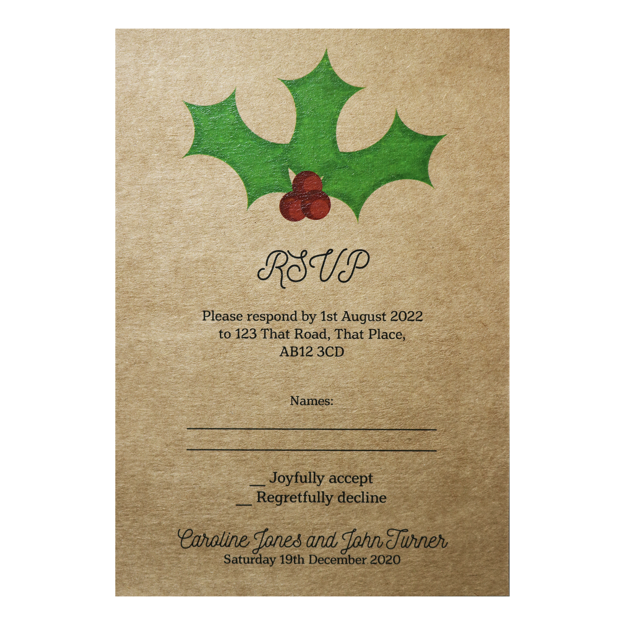 Recycled Brown Kraft Christmas Holly & Berries Wedding RSVP Cards