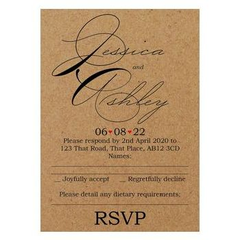 Recycled Brown Kraft Cute Swirled Red Heart Wedding RSVP Dietary Requirements Cards