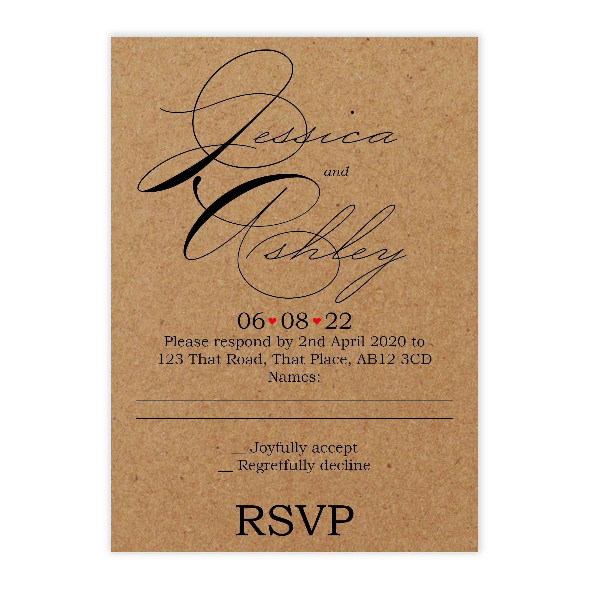 Recycled Brown Kraft Cute Swirled Red Heart Wedding RSVP Cards