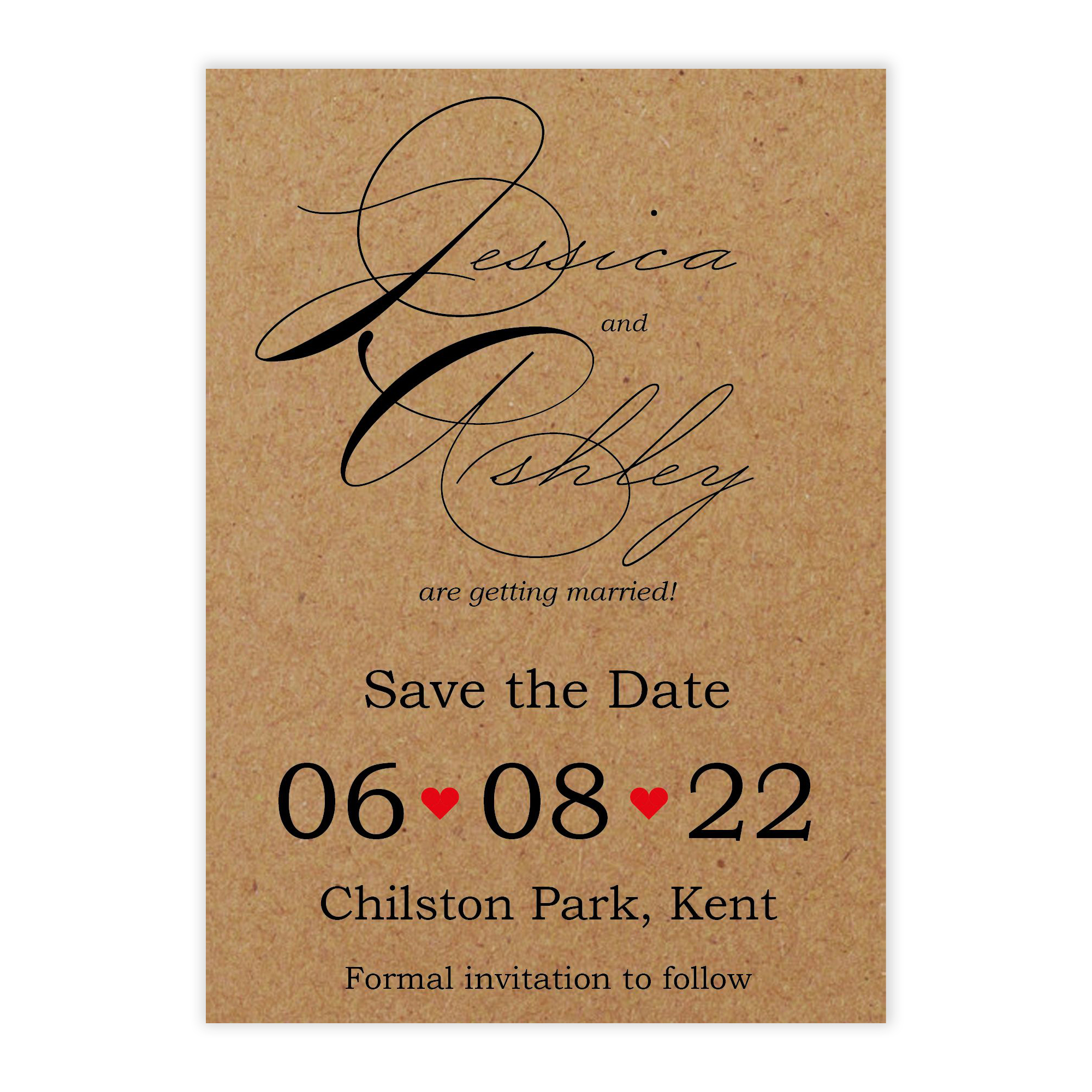Recycled Brown Kraft Cute Swirled Red Heart Save the Date Cards