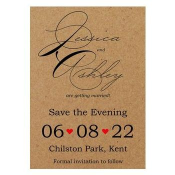 Recycled Brown Kraft Cute Swirled Red Heart Save the Evening Cards