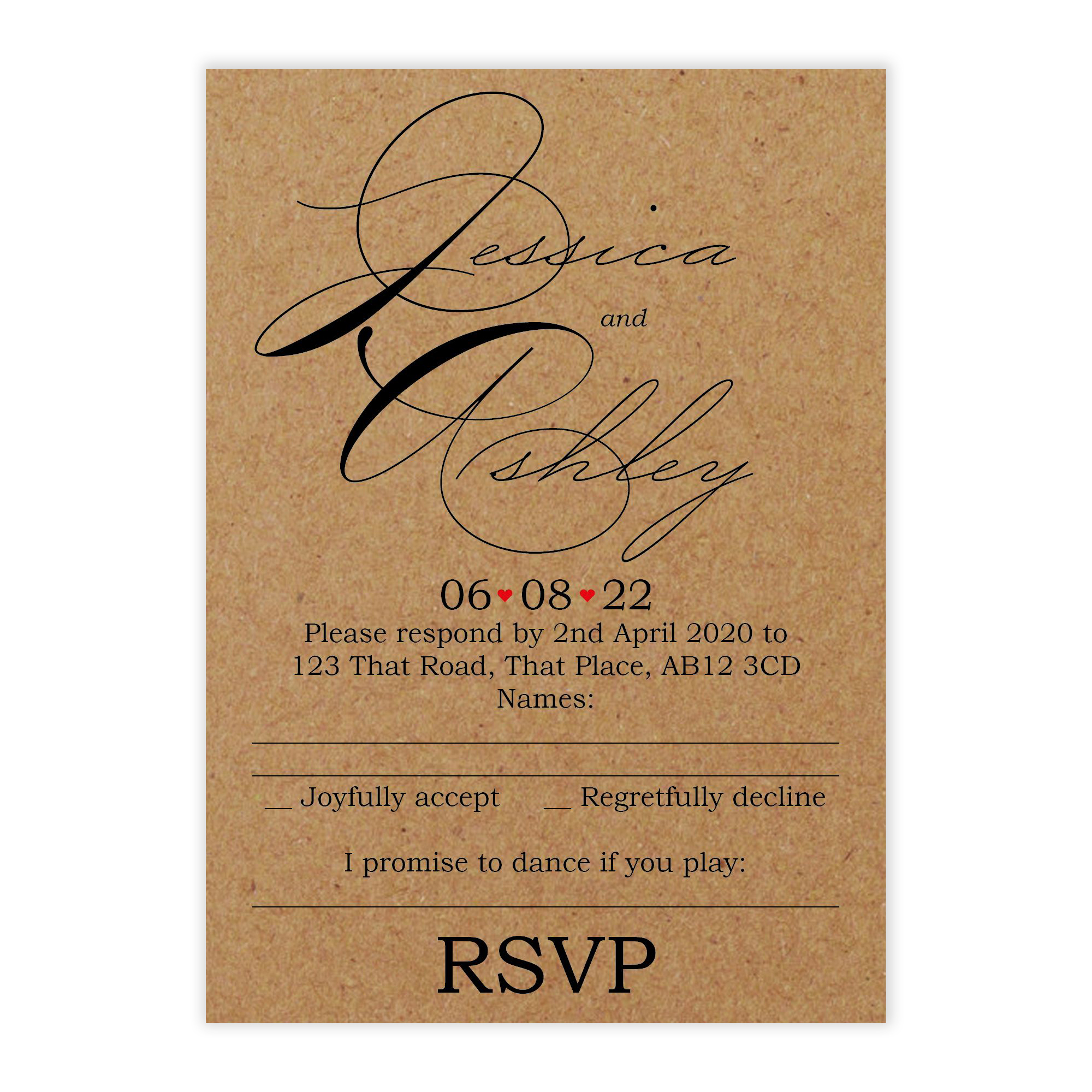 Recycled Brown Kraft Cute Swirled Red Heart Wedding RSVP Song Request Cards