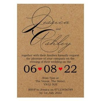 Recycled Brown Kraft Cute Swirled Red Heart Reception Invites