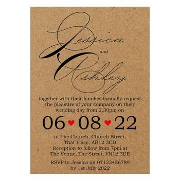 Recycled Brown Kraft Cute Swirled Red Heart Wedding Invites