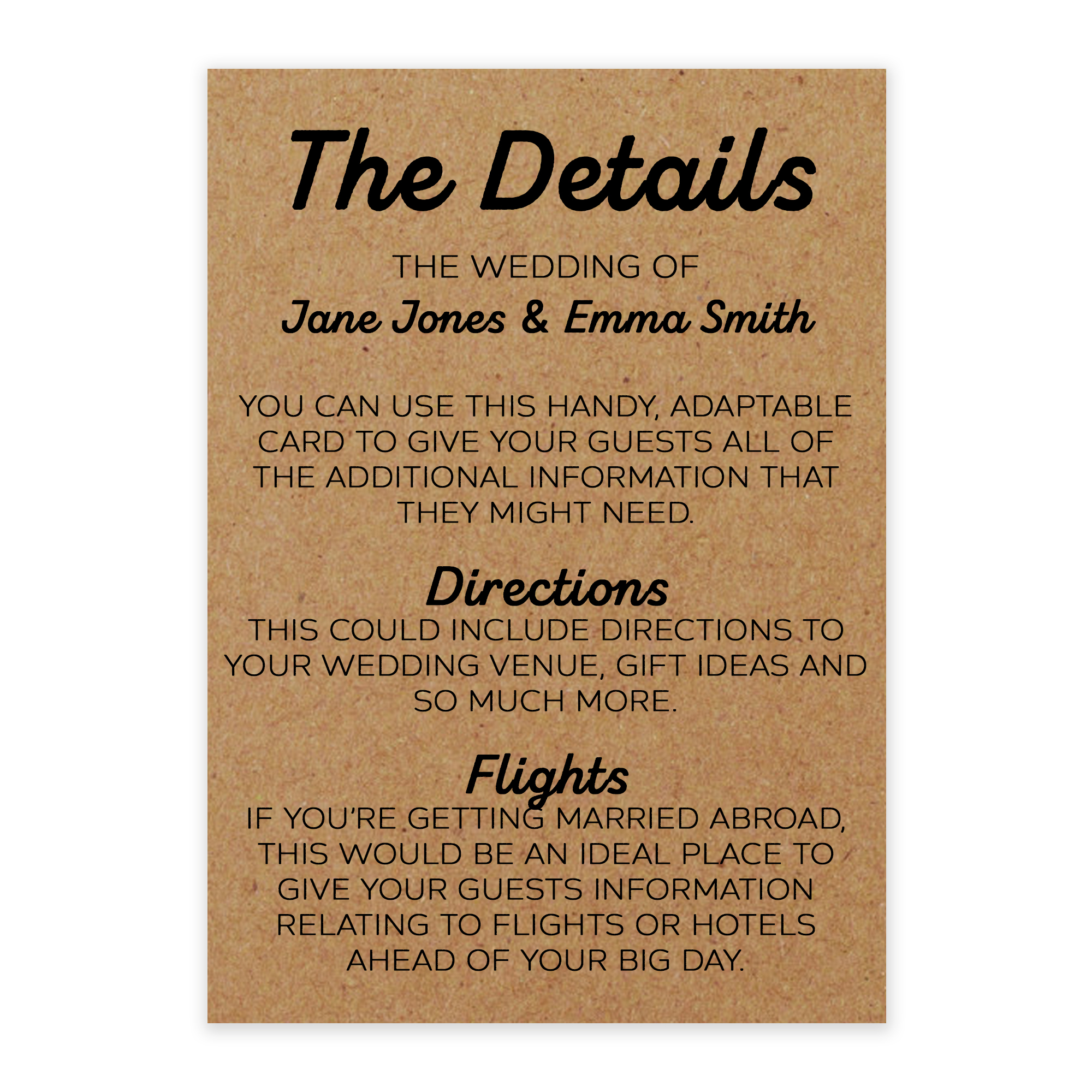 Recycled Brown Kraft Mrs & Mrs Guest Information Cards