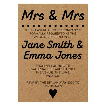Recycled Brown Kraft Mrs & Mrs Reception Invitations