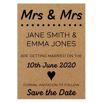 Recycled Brown Kraft Mrs & Mrs Save the Date Cards