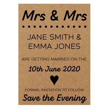Recycled Brown Kraft Mrs & Mrs Save the Evening Cards