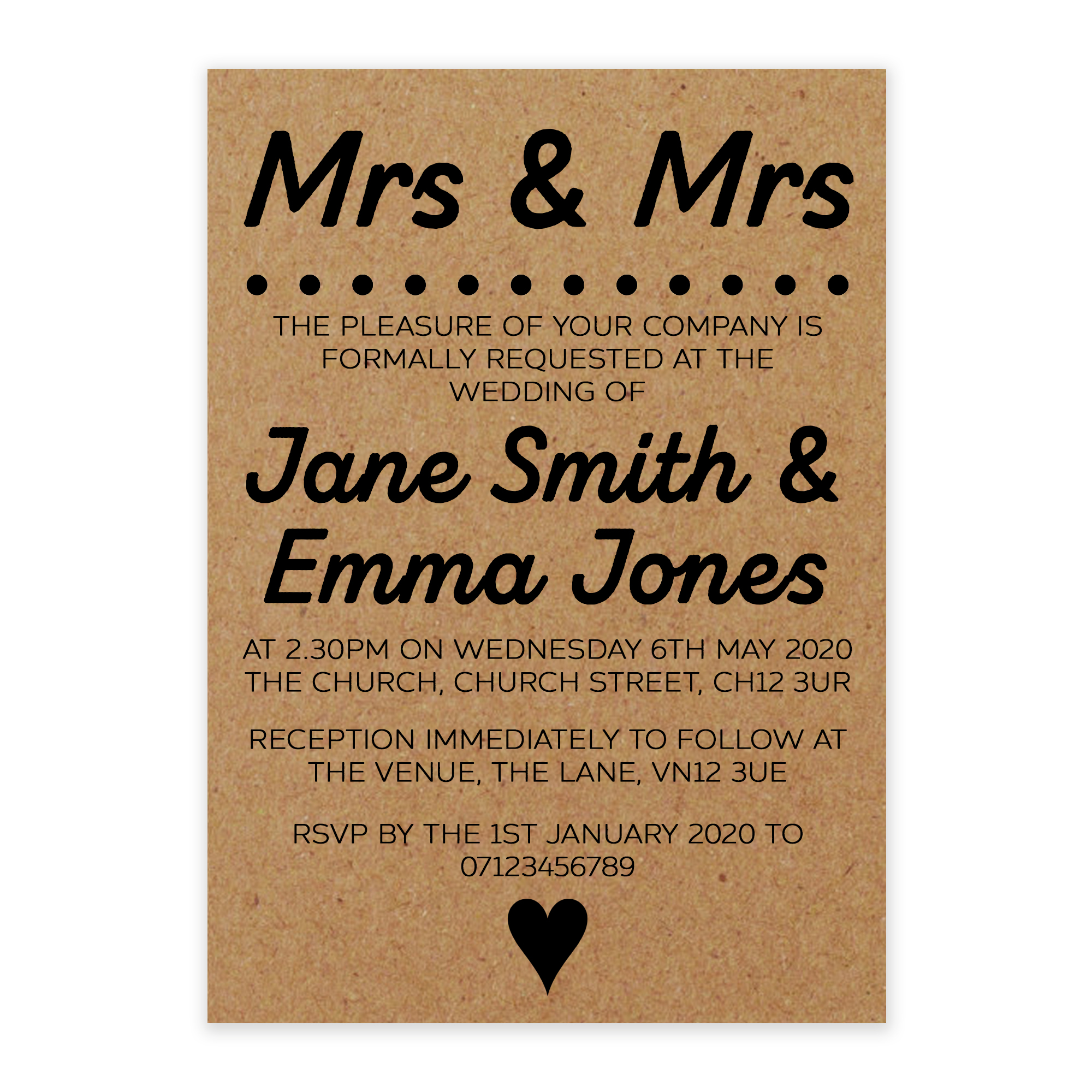 Recycled Brown Kraft Mrs & Mrs Wedding Invitations