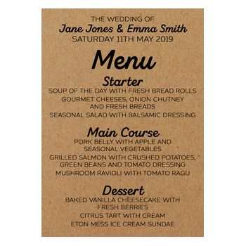 Recycled Brown Kraft Mrs & Mrs Wedding Menu Cards