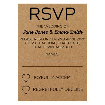 Recycled Brown Kraft Mrs & Mrs Wedding RSVP Cards