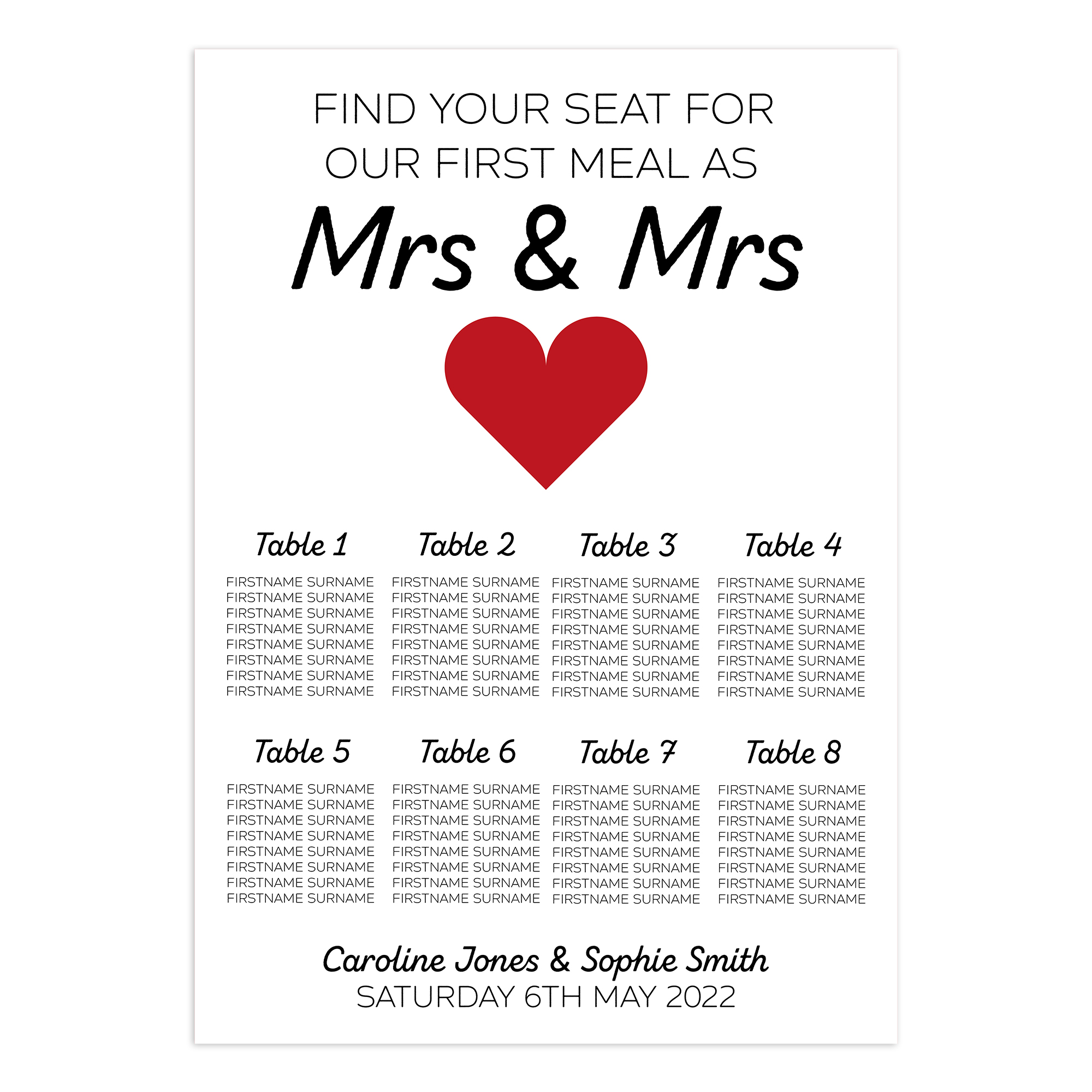 Mrs & Mrs 2mm Card Wedding Breakfast Reception Seating Table Plan