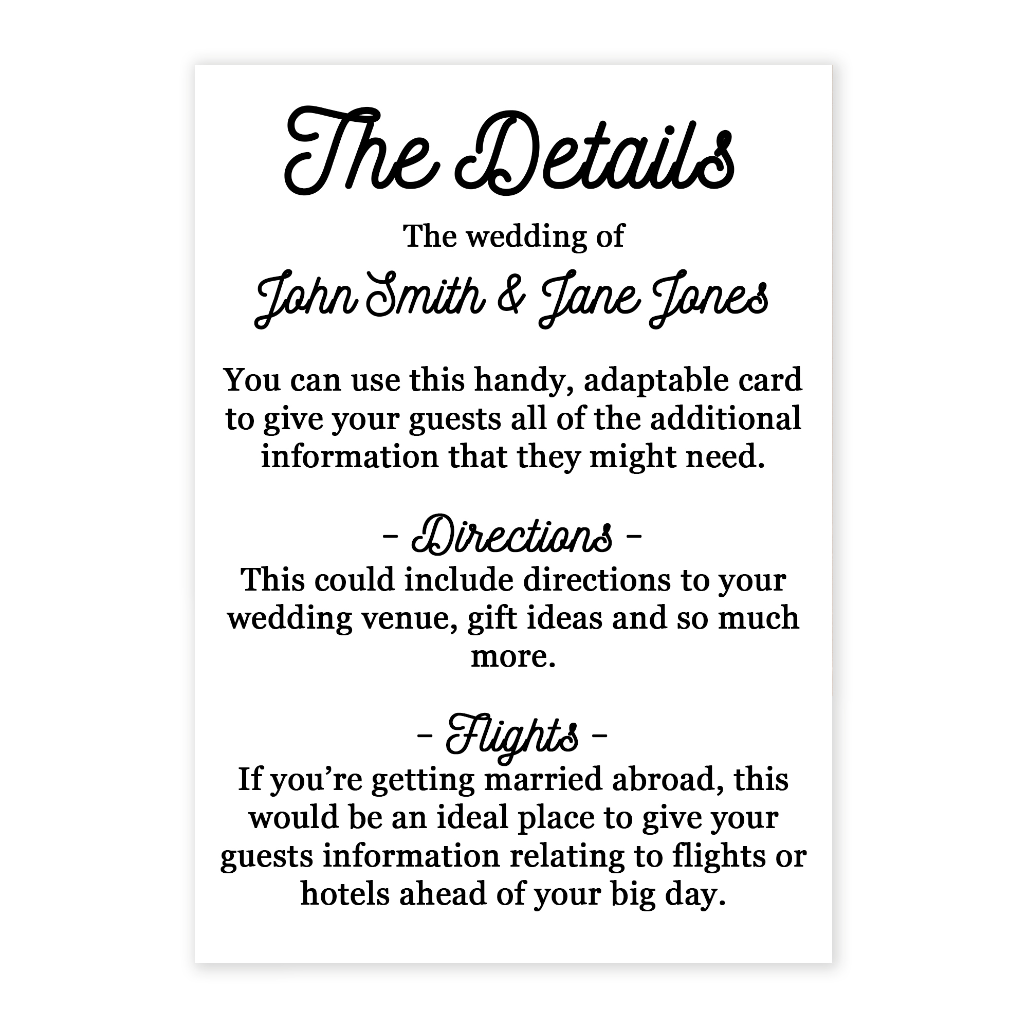 Recycled White Calendar Guest Information Cards