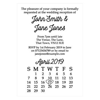 Recycled White Calendar Reception Invitations