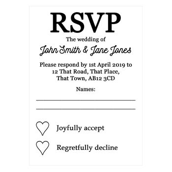 Recycled White Calendar RSVP Cards