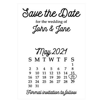 Recycled White Calendar Save the Date Cards