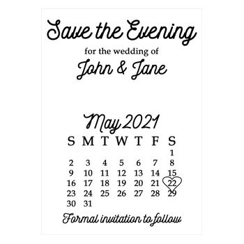 Recycled White Calendar Save the Evening Cards