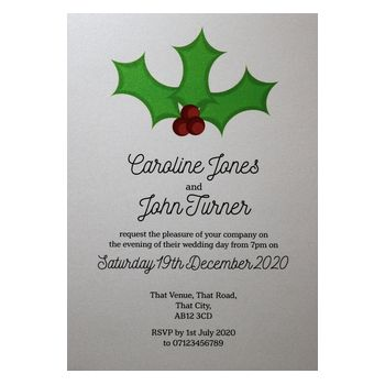 Glitter Arctic White Christmas Holly & Berries Reception Invitations