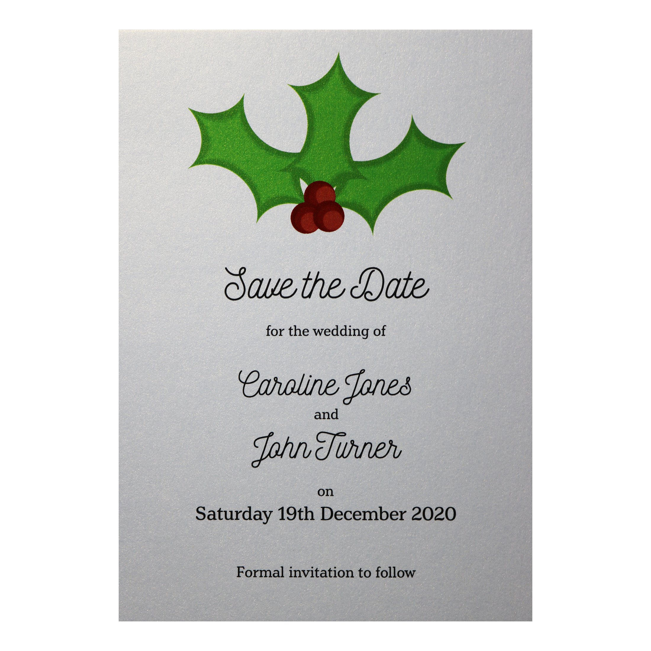 Glitter Arctic White Christmas Holly & Berries Save the Date Cards