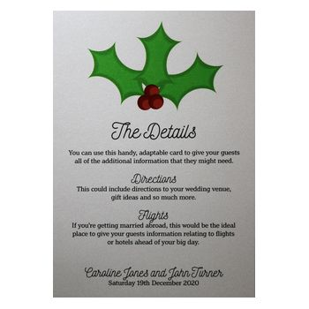 Glitter Arctic White Christmas Holly & Berries Guest Information Cards